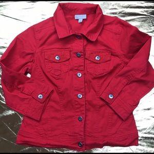DB red denim jean jacket lace trim Sz Small